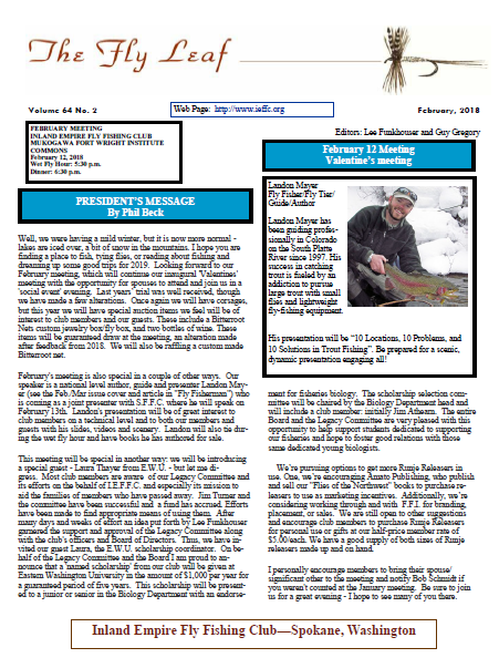 The Fly Leaf February 2019 - Inland Empire Fly Fishing Club